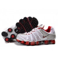 Men's Nike Shox TL Shoes White/Red/Silver Lastest