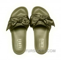 Puma X Fenty Bow Slide Olive Branch-Puma Silver Women Sandals Style Number 365774-01 Top Deals