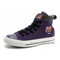 Cool CONVERSE Womens Embroidery Purple High Ps Chucks All Star Canvas Grey Suede Easy Slip Cheap To Buy
