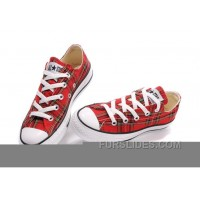 Red Plaid CONVERSE All Star Scotland Tops Canvas Shoes Online