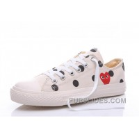 White CONVERSE Comme Des Garcons Polka Dot Play Chuck Taylor Low New Release