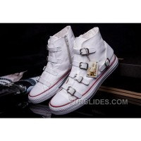 CONVERSE VS ASH Multi Buckles White Leather Chuck Taylor All Star High Tops Sneakers Super Deals