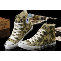 CONVERSE Summer Nicolas Cage Soul Camouflage Army Olive Green All Star Chucks High Tops Canvas Sneakers Authentic