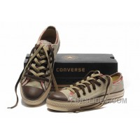 All Star CONVERSE Rens Double Upper Tongue Oxford Tops Beige Canvas Orange Plaid Brown Toe And Laces Shoes New Release