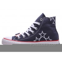 Blue High CONVERSE Star Embroidery Chuck Taylor All Star Canvas Shoes Cheap To Buy