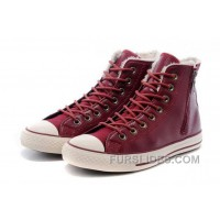 Red All Star CONVERSE Winter Boots Wool Inner High Side Zip Leather Cheap To Buy