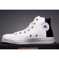 CONVERSE White Leather Two Panels Chuck Taylor All Star High S Top Deals