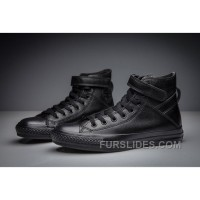 Full Black All Star CONVERSE Single Buckle Leather High Online