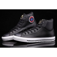 Black Hi Tops CONVERSE CT Embroidery Padded Collar Leather All Star Free Shipping