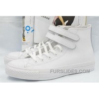 All Star All White Leather CONVERSE Double Velcro Chuck Taylor High Shoes New Release