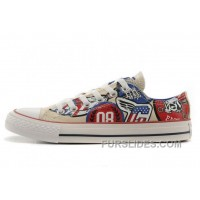 CONVERSE American Retro Pattern Printing White Tops Chuck Taylor All Star Canvas Sneakers Free Shipping