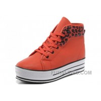 Orange Red CONVERSE All Star Platform Leopard Leather Online