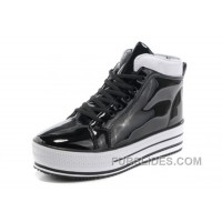 New All Star Platform CONVERSE Shiny Black Leather Shoes Top Deals