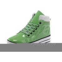 Green CONVERSE Platform All Star Shiny Leather Shoes Super Deals