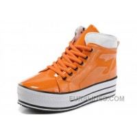 Orange All Star Platform CONVERSE Shiny Leather Shoes For Sale
