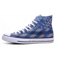 Unisex Blue CONVERSE Chuck Taylor American Flag Print All Star Cheap To Buy