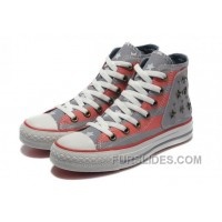 Grey Red American Flag CONVERSE Metal All Star The End Of The World Canvas Shoes For Sale