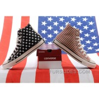 Jointly CONVERSE American Flag Stars And Stripes Black Red Chuck Taylor All Star High Tops Canvas Sneakers Authentic