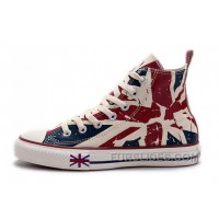 Blue CONVERSE British Flag Print All Star Beige Red Canvas London Shoes New Release