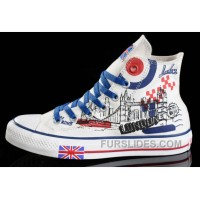 CONVERSE UK Flag London Building Printed White Canvas Transparent Soles Shoes Free Shipping