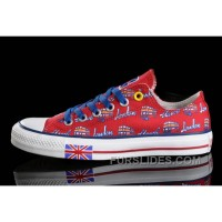 Red CONVERSE British Flag London Bus Printed Canvas Transparent Soles Shoes New Release
