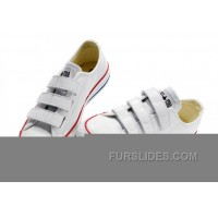 White CONVERSE All Star Chuck Taylor 3 Strap Velcro Leather Sneaker New Release