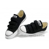 Velcro CONVERSE All Star Black 3 Strap Canvas Shoes Free Shipping
