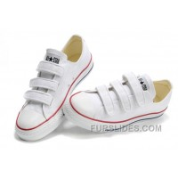 Classic CONVERSE 3 Strap All Star Velcro White Canvas Shoes Free Shipping
