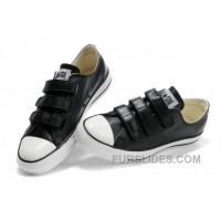 Black Leather CONVERSE All Star 3 Strap Velcro Black Sneakers Super Deals