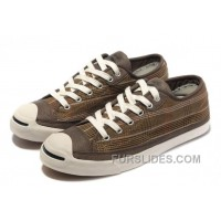 CONVERSE Plaid Jack Purcell Maroon Canvas Brown Leather Cheap To Buy