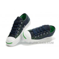CONVERSE Jack Purcell Blue Denim Jean With Green Serif Canvas Shoes Cheap To Buy