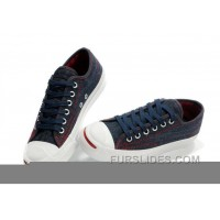 Blue CONVERSE Jack Purcell Denim Jean Red Serif Canvas Sneakers For Sale