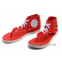 Red All Star CONVERSE Roman Gladiator Studded Flip Flops Zipper Sandals Authentic