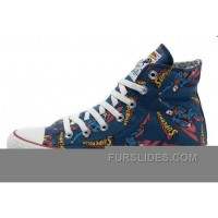 CONVERSE Superman Comics Heros Printed Blue Canvas Sneakers Cheap To Buy