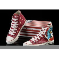 Captain America CONVERSE Red High Tops Canvas Shoes Authentic