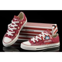 Red Captain America CONVERSE Tops Canvas Shoes For Sale