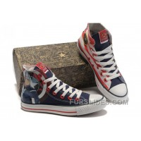 CONVERSE Captain America High S The Avengers Edition Blue Red White Stripes Canvas Shoes Top Deals