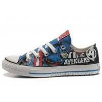 CONVERSE Captain America The Avengers Edition Printed Blue Black Tops Canvas Shoes Online