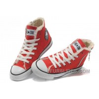 Red CONVERSE Winter Chuck Taylor All Star Soft Nap Shearling Inside Zipper Canvas Sneakers Discount