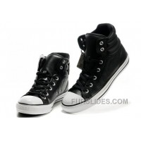 New Embroidery Black Leather CONVERSE Padded Collar Chuck Taylor All Star Winter Boots Free Shipping