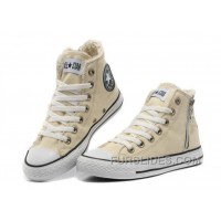CONVERSE Winter Chuck Taylor All Star Beige Soft Nap Shearling Inside Zipper Canvas Sneakers Online