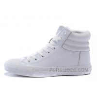 Full White CONVERSE Embroidery Leather Padded Collar Winter CTAS Shoes Lastest