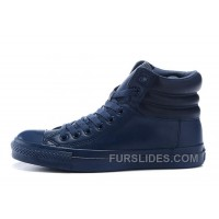 Monochrome Blue High CONVERSE Embroidery Leather Padded Collar Winter For Sale
