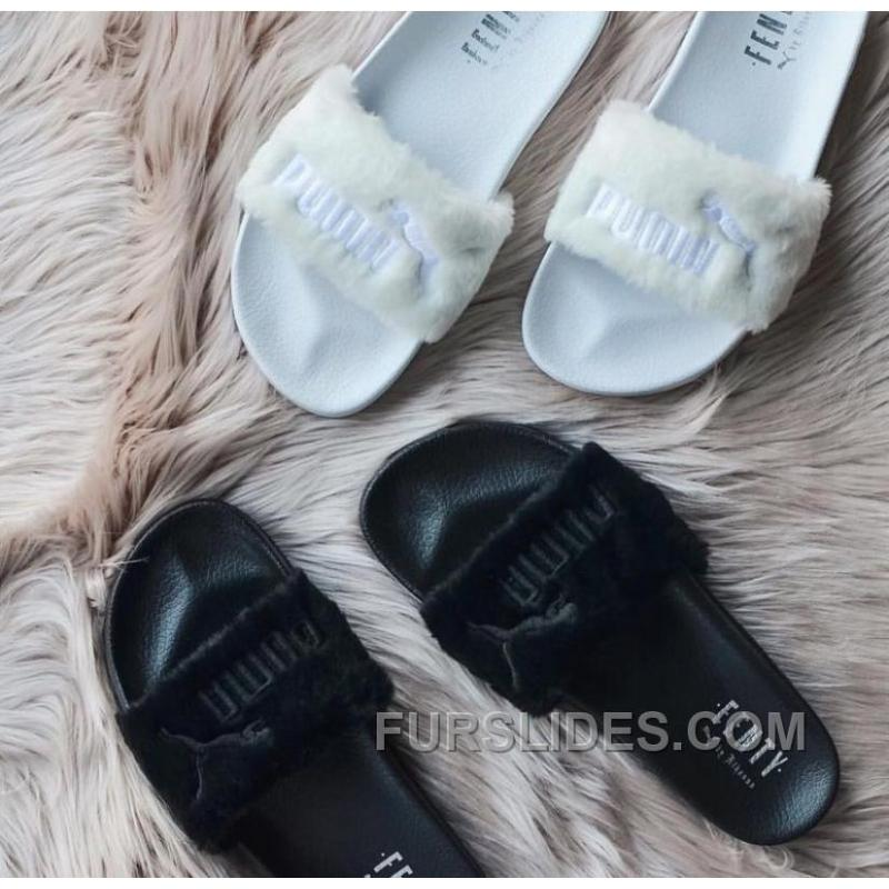 puma x rihanna leadcat fenty sandal black fur slide. Black Bedroom Furniture Sets. Home Design Ideas