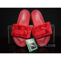 PUMA BY RIHANNA LEADCAT FENTY FUR SLIDE Red For Sale 3MEwSWP