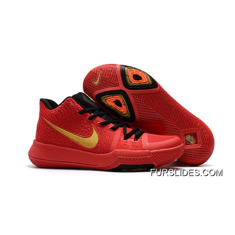 new concept 83e45 b05c1 For Sale Girls Nike Kyrie 3 Red Black Gold