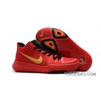 Girls Nike Kyrie 3 Red Black Gold New Style