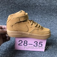 NIKE AIR FORCE 715889-200 Kids Preschool AF1 Wheat Children Free Shipping