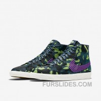 NIKE BLAZER MID JACQUARD 2017 Spring New 807382-200 Women Black Purple Discount