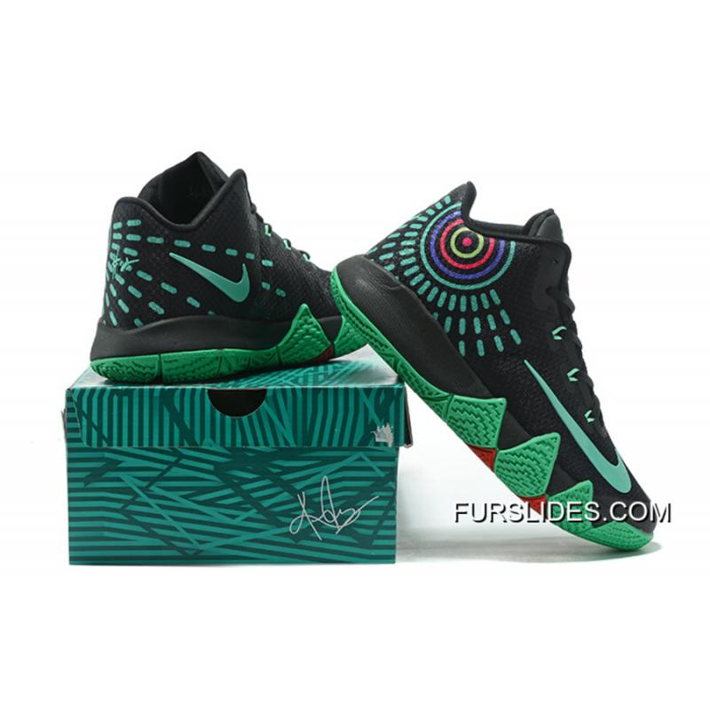 135d14602b24 Nike Kyrie 4 Mens Basketball Shoes Black Green For Sale